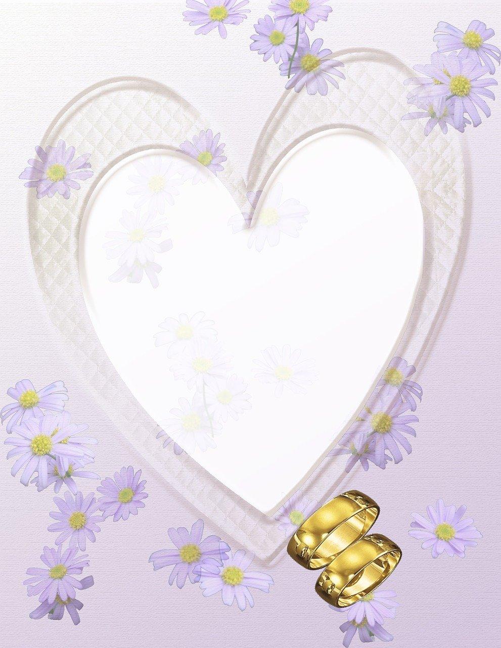 לב וזוג טבעות